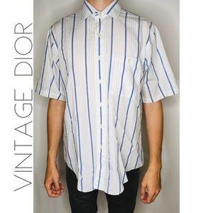 VTG Christian Dior striped s/s button shirt L 0343